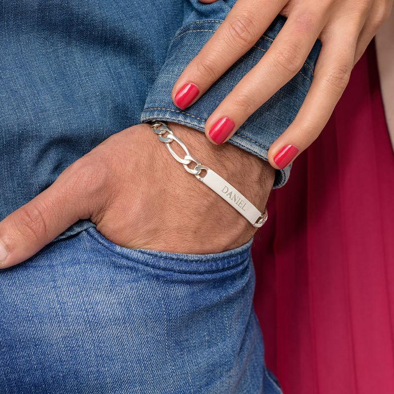 Heavy Sterling Silver Men's ID Name Bracelet - 6