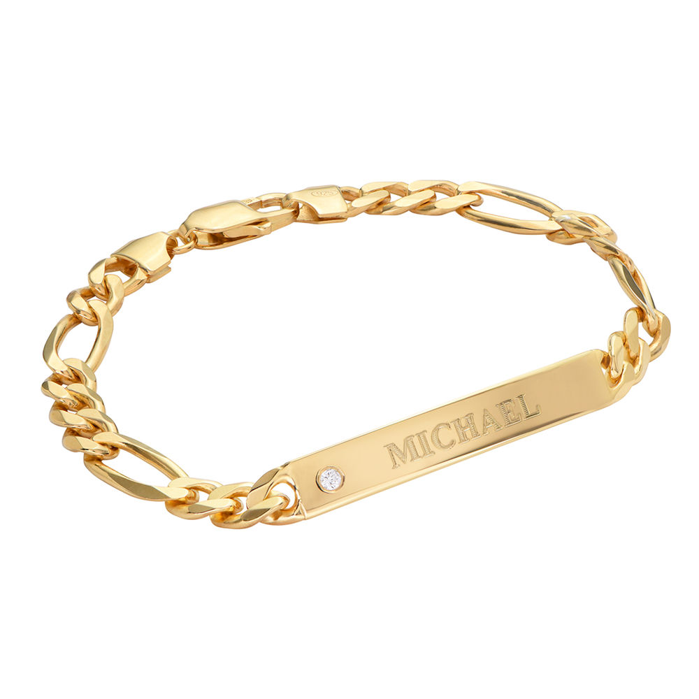 ID Bracelet for Men in Gold Plated with Diamond