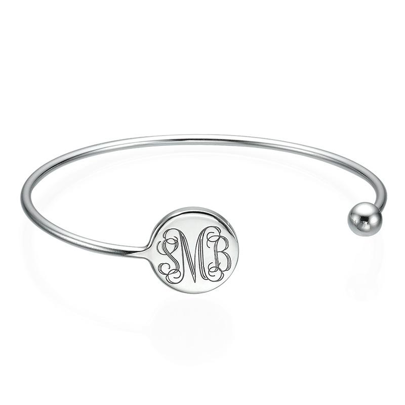 Monogram Bangle Bracelet in Silver - Adjustable