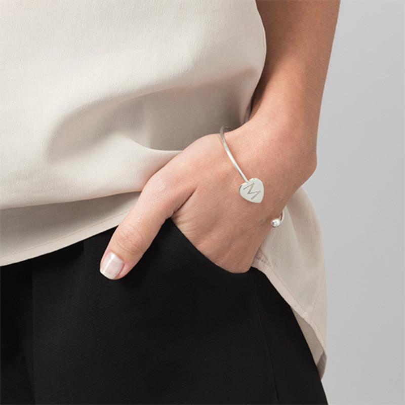 Personalised Bangle Bracelet in Silver - Adjustable - 2