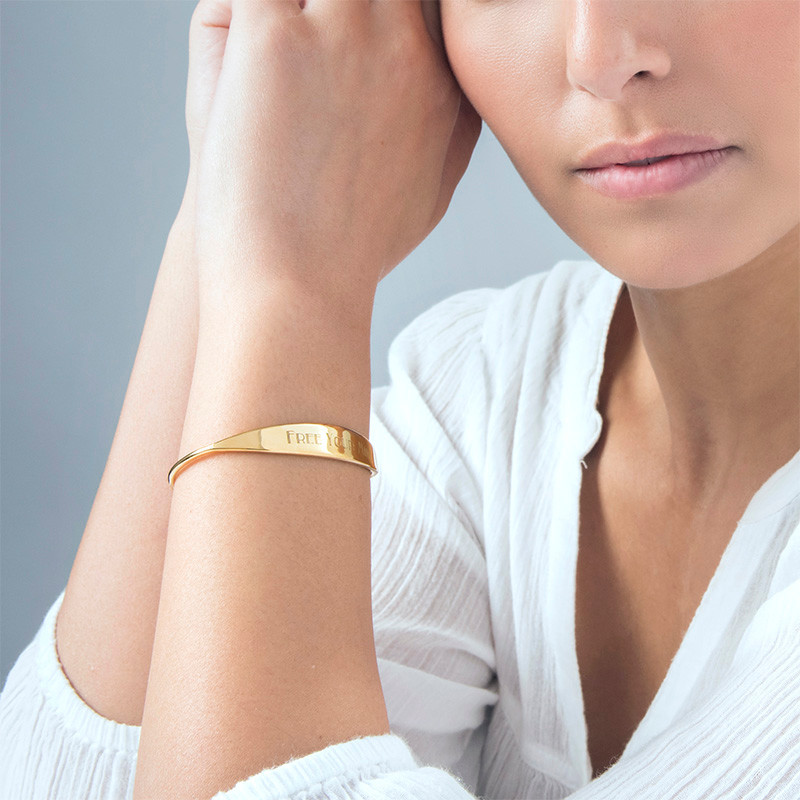 18ct Gold Plated ID Bangle Bracelet - 1