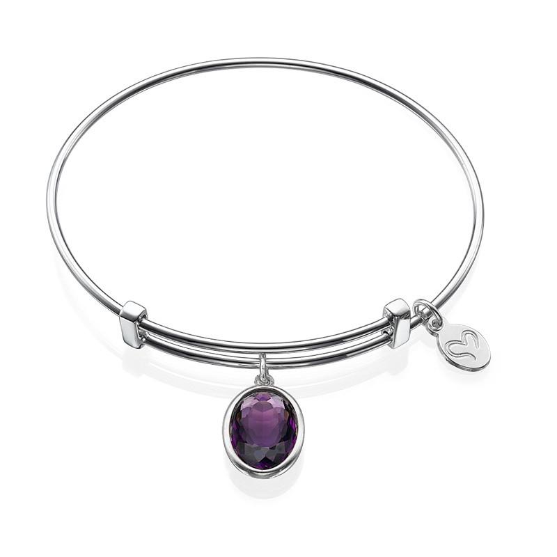 Bangle Charm Bracelet with Personalised Stone