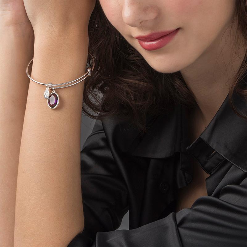 Bangle Charm Bracelet with Personalised Stone - 2