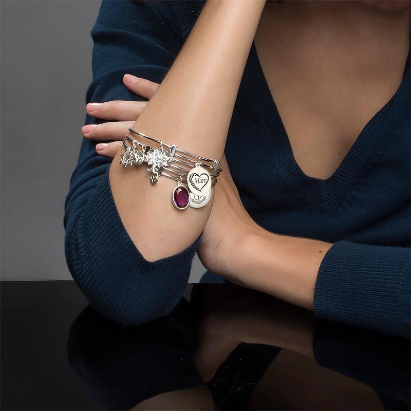 Bangle Charm Bracelet with Personalised Stone - 3