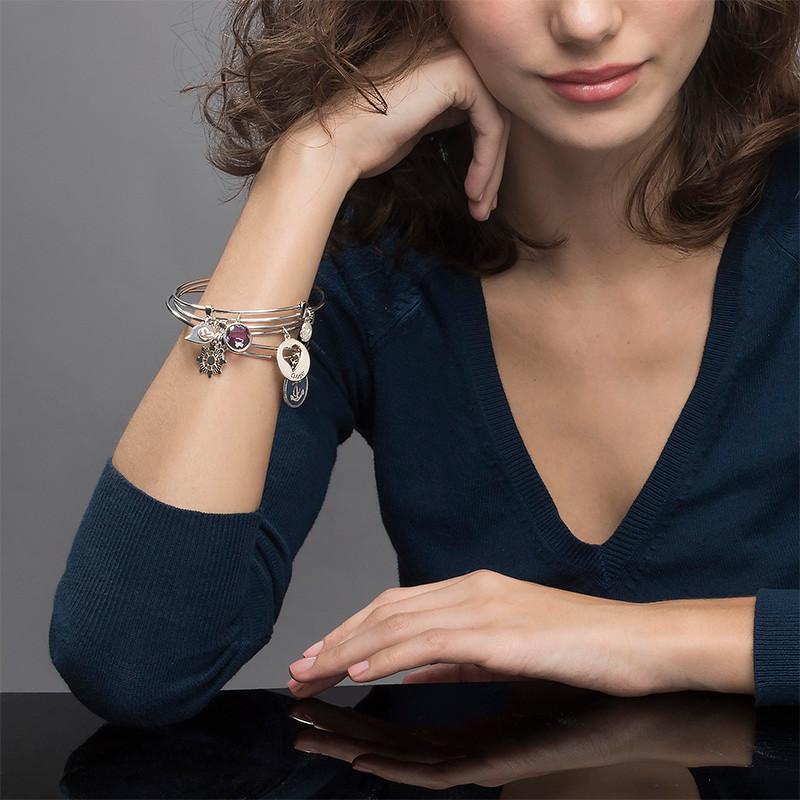 Heart Charm Bangle Bracelet - 2