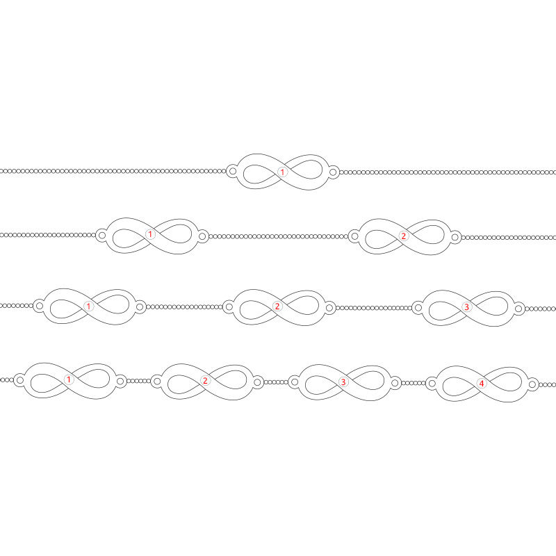 Multiple Infinity Bracelet with Rose Gold Plating - 6