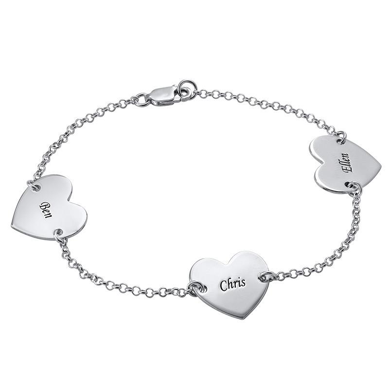 Multiple Heart Bracelet with Engraving