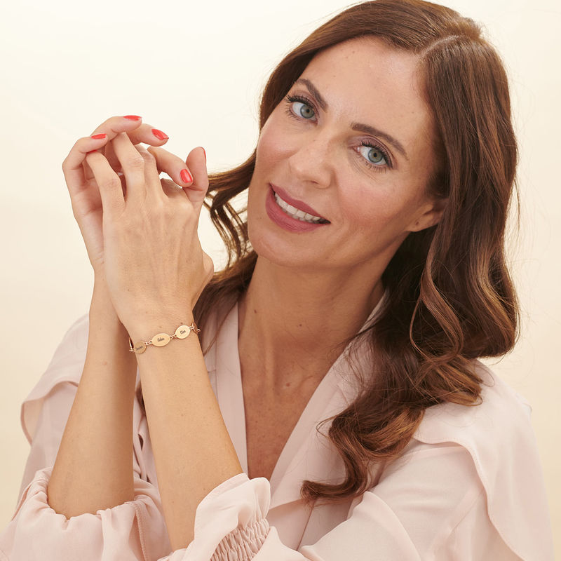 Rose Gold Plated Mum Bracelet with Kids Names - Oval Design - 5