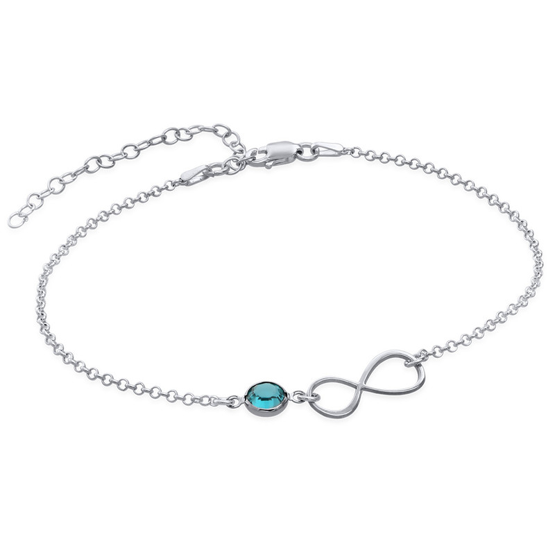 Infinity Ankle Bracelet in Silver with birthstone
