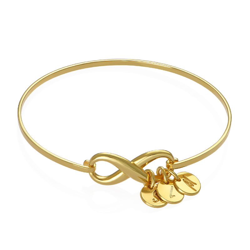 Infinity Bangle Bracelet with Initial Charms in Gold Plating