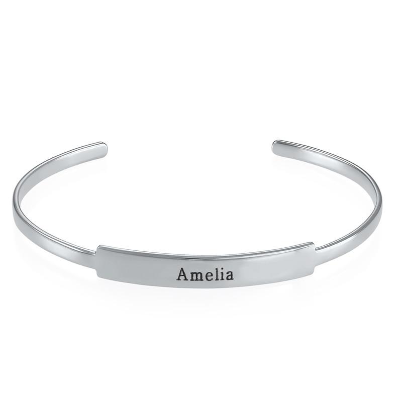 Open Name Bangle Bracelet in Silver