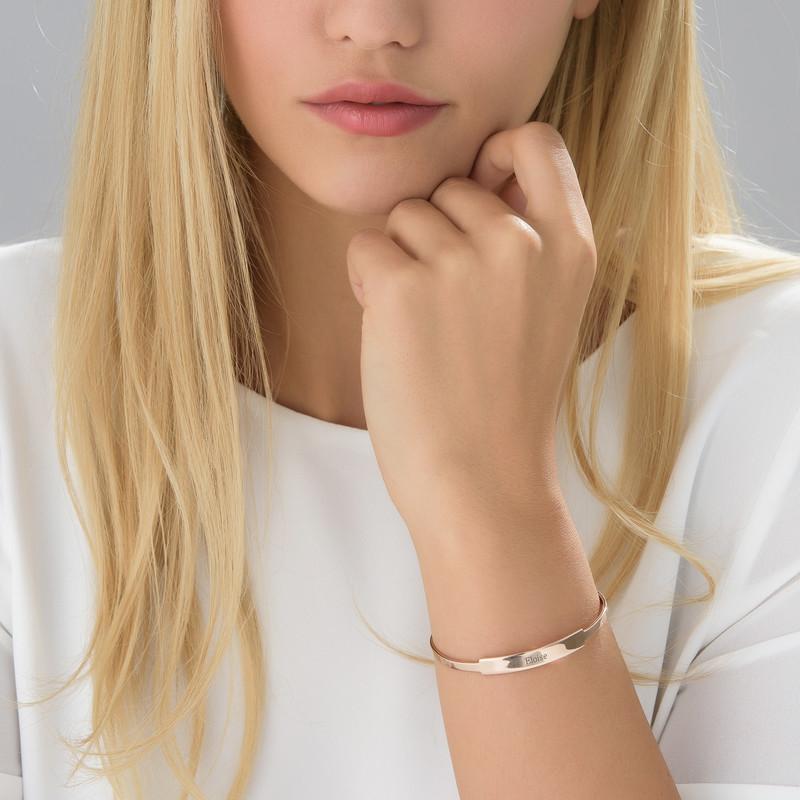 Open Name Bangle Bracelet in Rose Gold Plating - 1