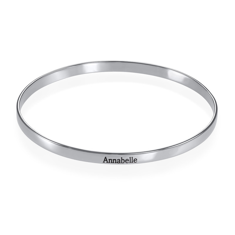 Engraved Bangle Bracelet in Silver