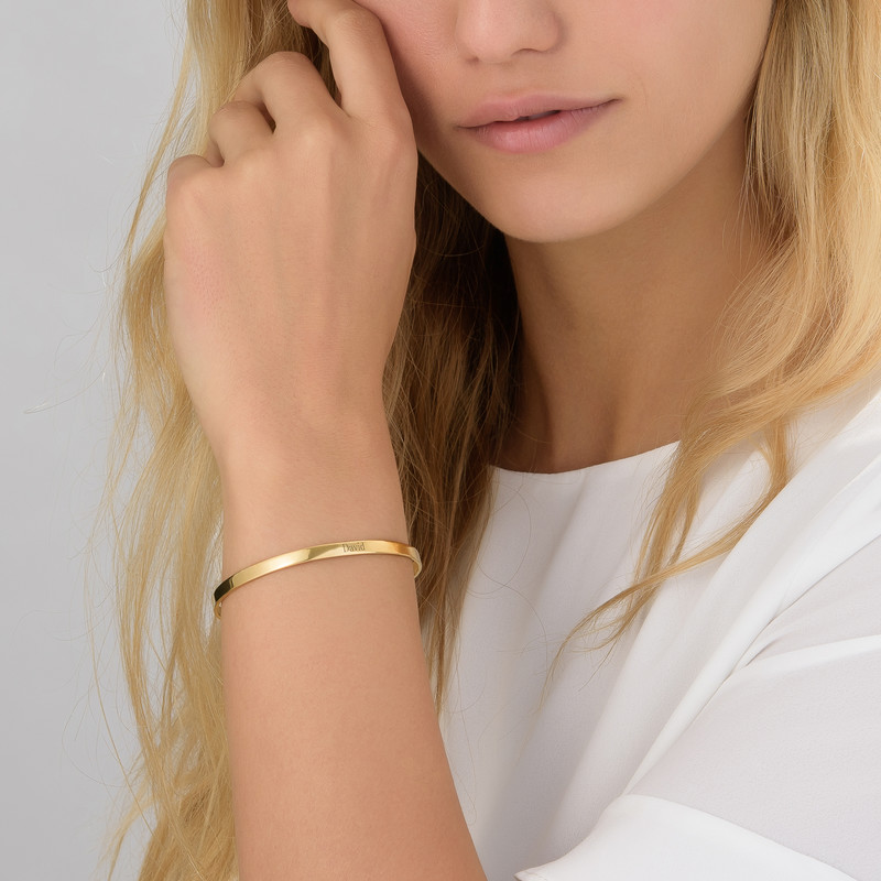 18ct Gold-Plated Engraved Bangle Bracelet - 1