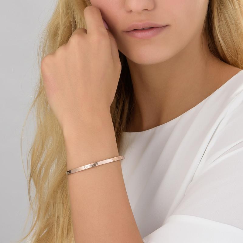 18ct Rose Gold Plated Engraved Bangle Bracelet - 1