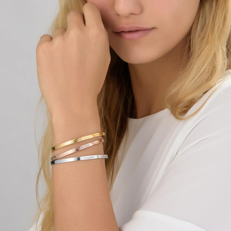 18ct Rose Gold Plated Engraved Bangle Bracelet - 2