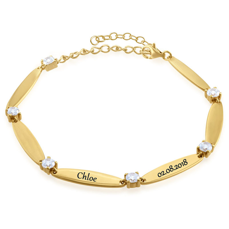 Engraved Mother Bracelet with Cubic Zirconia in Vermeil - 1
