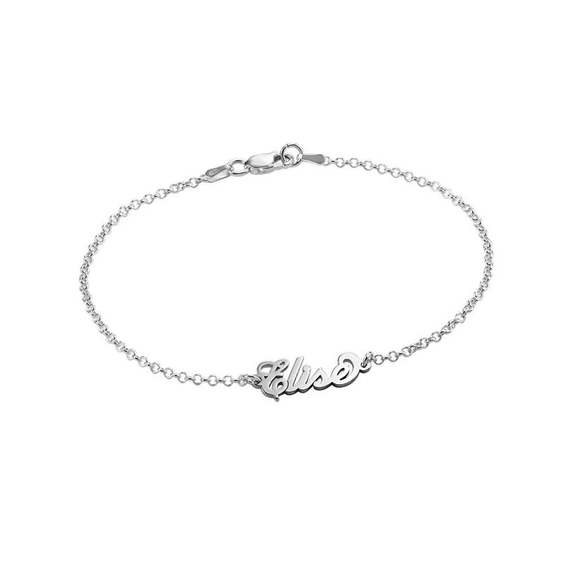 "Tiny Sterling Silver ""Carrie"" Style Name Bracelet"