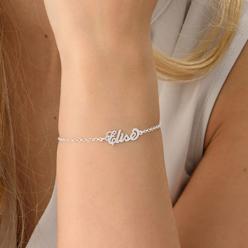 """Tiny Sterling Silver """"Carrie"""" Style Name Bracelet - 2"""