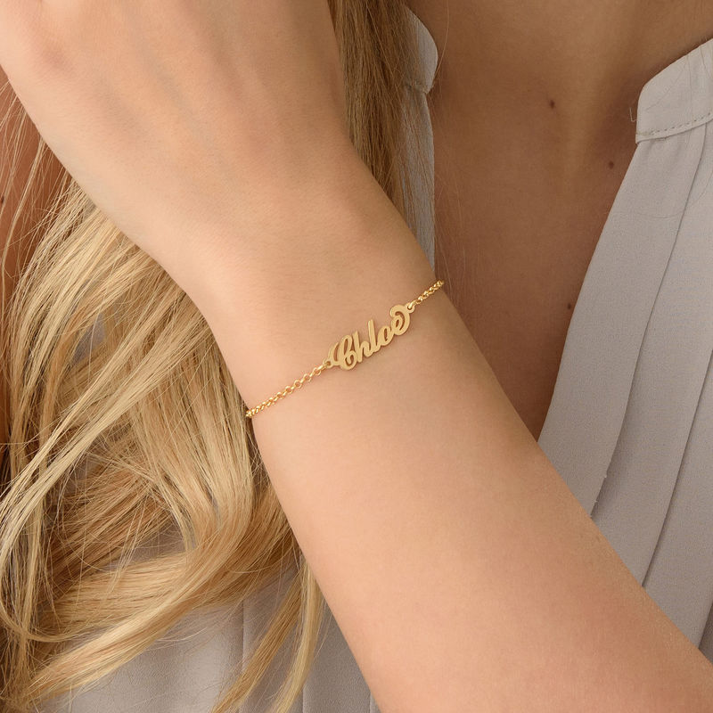 Tiny 18ct Gold-Plated Carrie Personalised Bracelet - 2