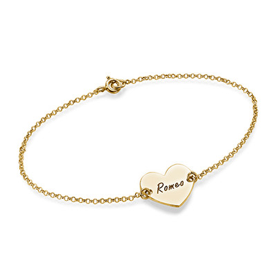 18ct Gold Plated Engraved Heart Couples Bracelet