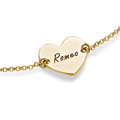 18ct Gold Plated Engraved Heart Couples Bracelet - 1