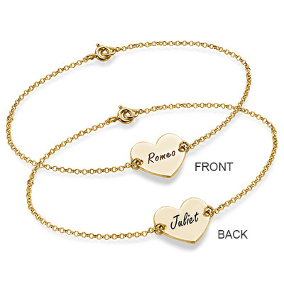 18ct Gold Plated Engraved Heart Couples Bracelet - 2