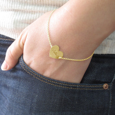 18ct Gold Plated Engraved Heart Couples Bracelet - 3