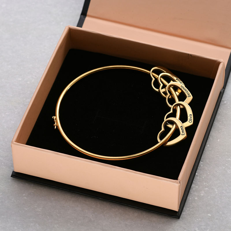 Bangle Bracelet with Heart Shape Pendants in Gold Plating - 5