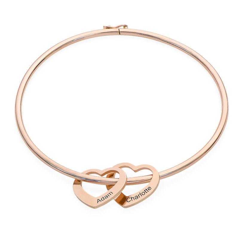 Bangle Bracelet with Heart Shape Pendants in Rose Gold Plating - 1