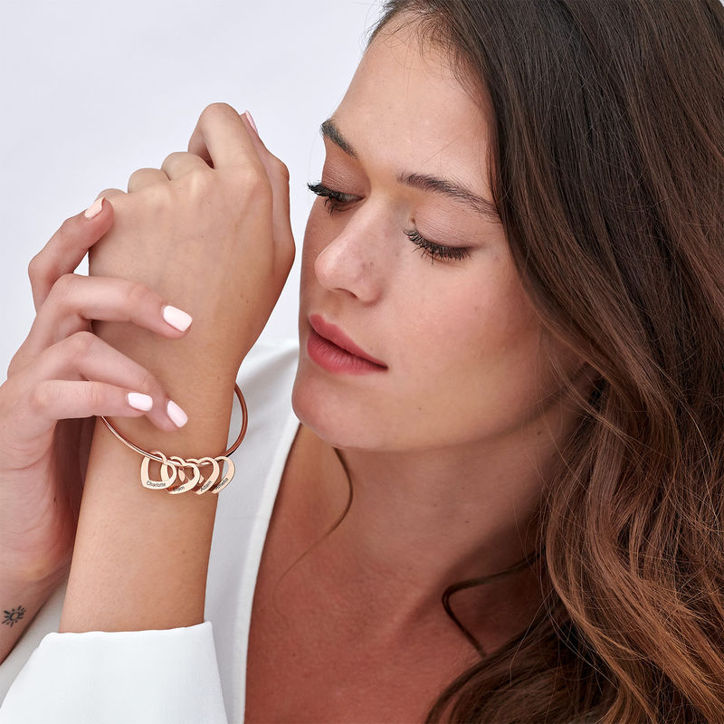 Bangle Bracelet with Heart Shape Pendants in Rose Gold Plating - 3