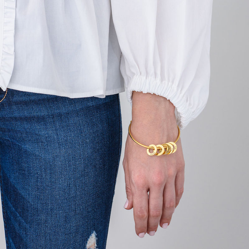 Bangle Bracelet with Round Shape Pendants in Gold Plating - 2
