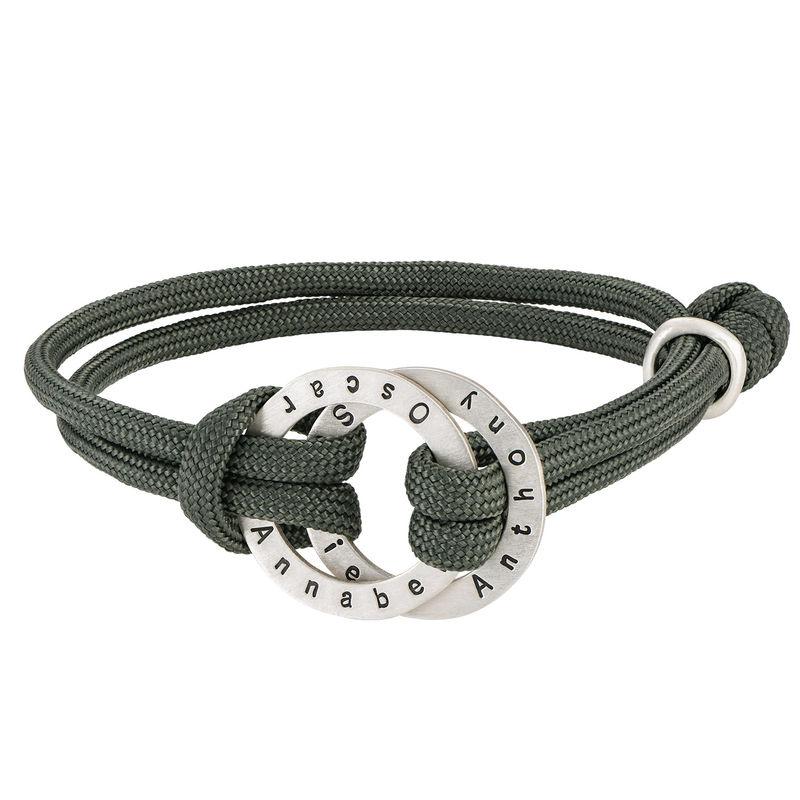 Rope Bracelet for Men with Engraved Hoop