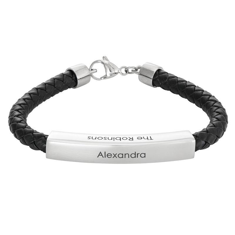 Engraved Leather Bar Bracelet for Men- in Black