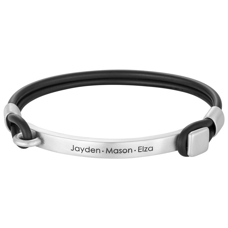 Personalised Rubber Bracelet with Engravable Bar in Silver
