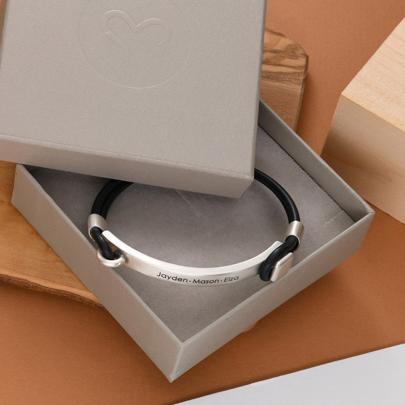 Personalised Rubber Bracelet with Engravable Bar in Silver - 4