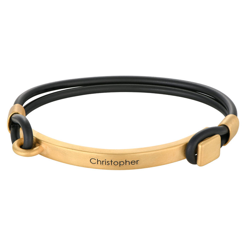 Personalised Rubber Bracelet with Engravable Bar in Gold Plated