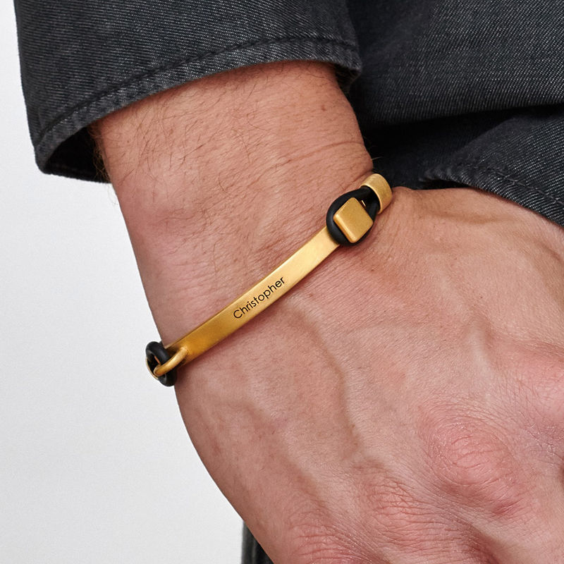 Personalised Rubber Bracelet with Engravable Bar in Gold Plated - 1