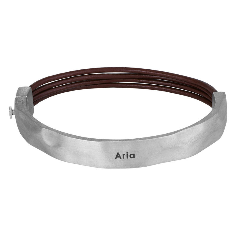 Half Cuff Bracelet in Silver with Brown Leather Chain