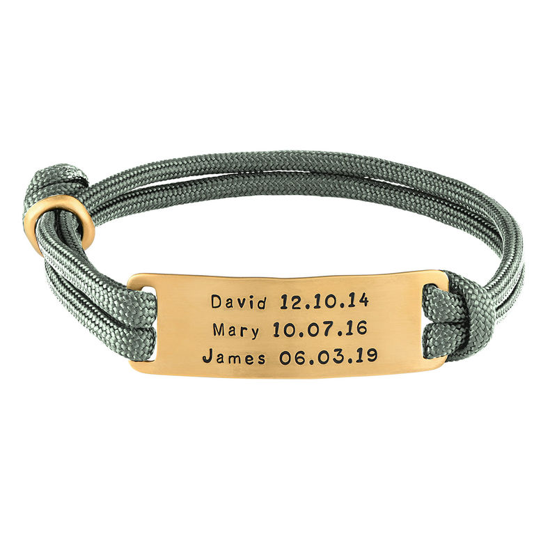 Engraved Bar Cord Bracelet For Men in 18ct Gold Plating - 1