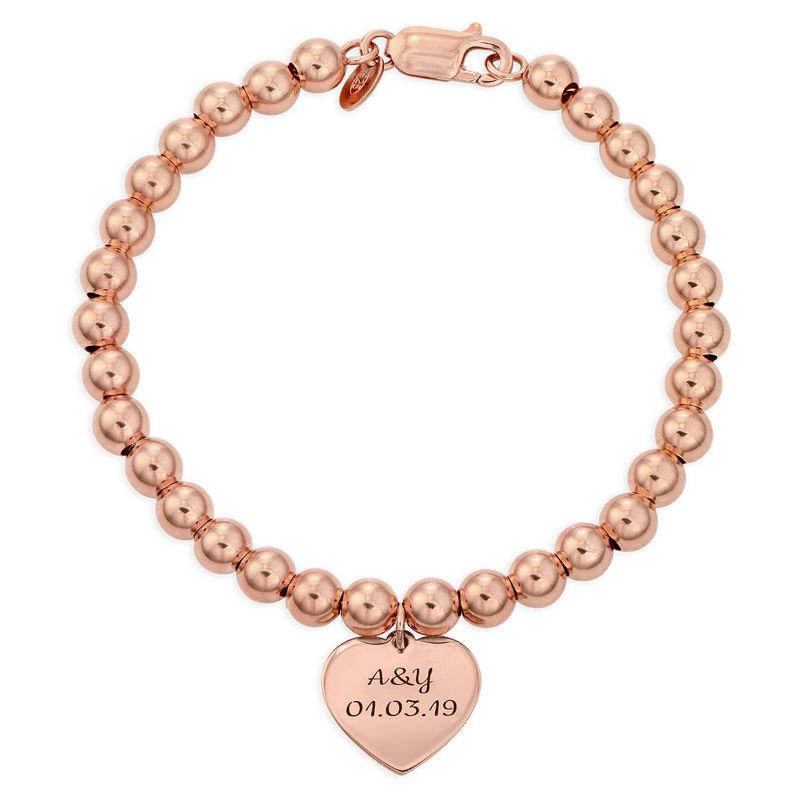 Heart Charm Beaded Bracelet in Rose gold Plating