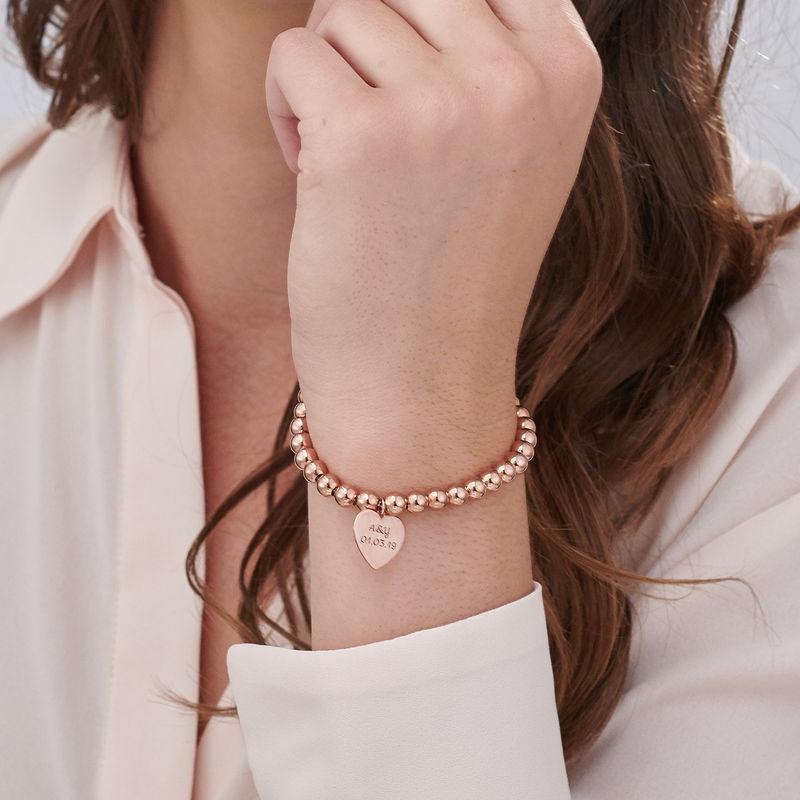 Heart Charm Beaded Bracelet in Rose gold Plating - 2