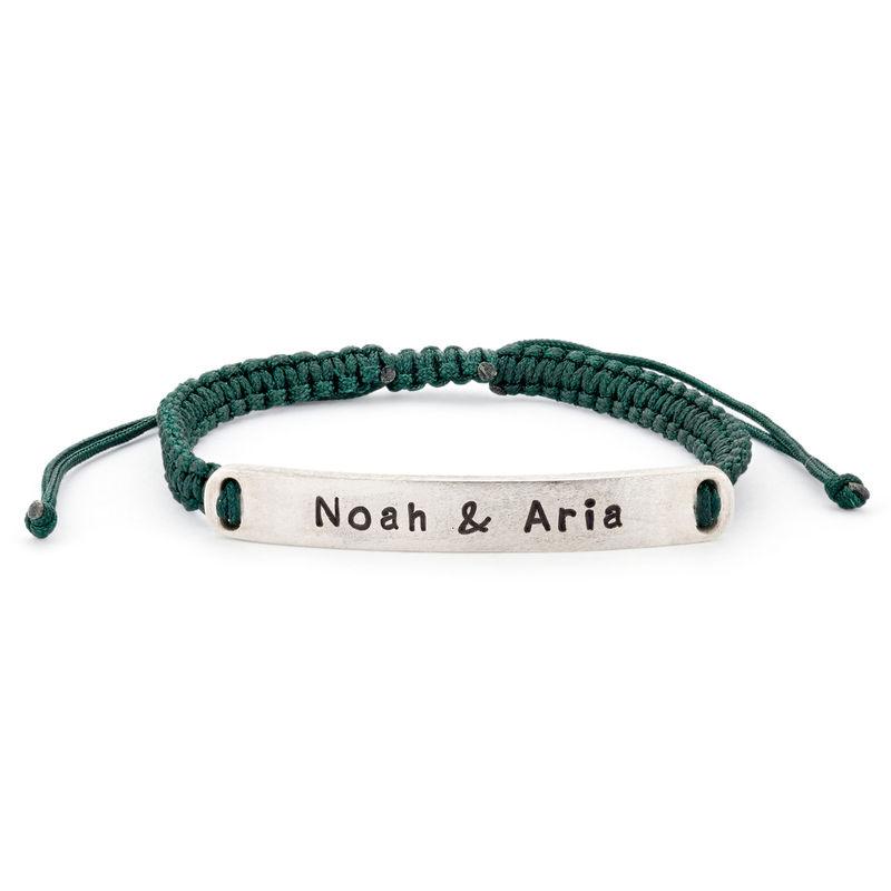 Adjustable Engraved Bar Rope Bracelet in Silver