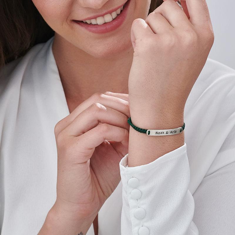 Adjustable Engraved Bar Rope Bracelet in Silver - 3
