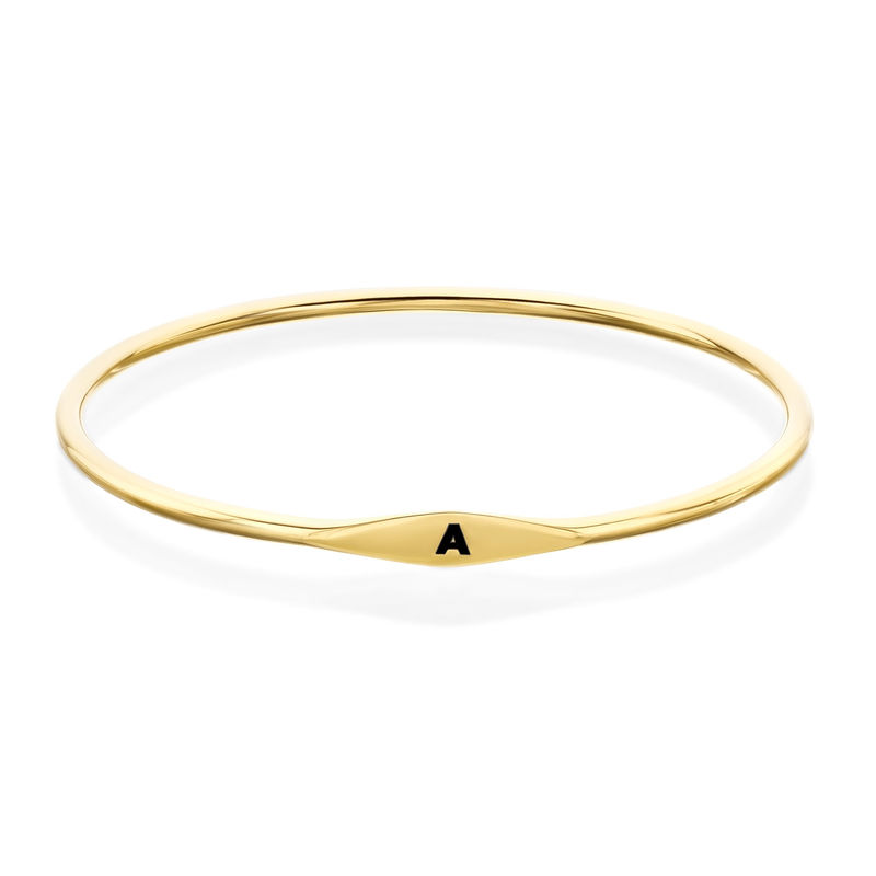 Initial Bangle Bracelet in Gold Plating