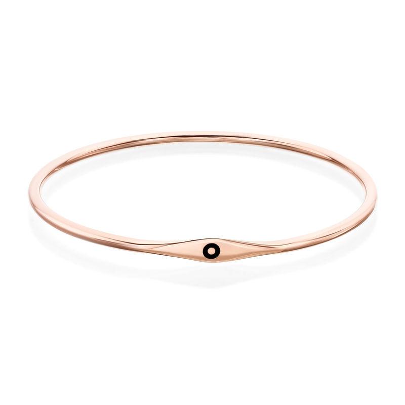 Initial Bangle Bracelet in Rose Gold Plating