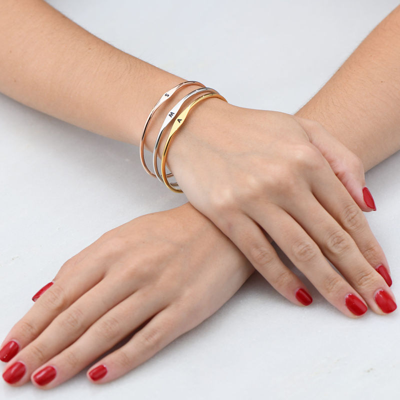 Initial Bangle Bracelet in Rose Gold Plating - 4