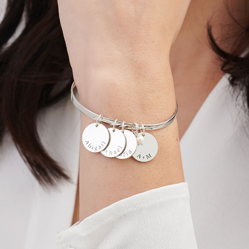 Bangle Bracelet with Personalised Pendants in Sterling Silver - 2
