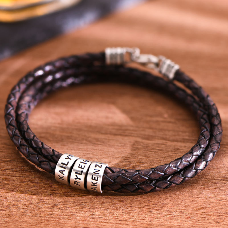 Men Braided Brown Leather Bracelet with Small Custom Beads in Silver - 2