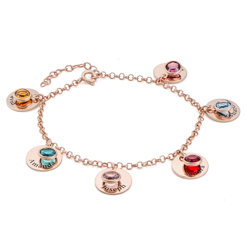 Mum Personalised Charms Bracelet with Swarovski Crystals in Rose Gold Plating